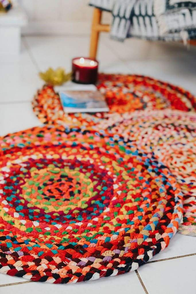 60cm Round Braided Chindi Rug
