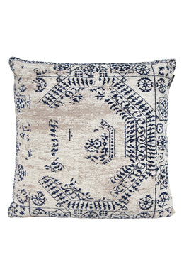Antiq Cotton Chenille Cushion - Blue & Taupe 55X55CM