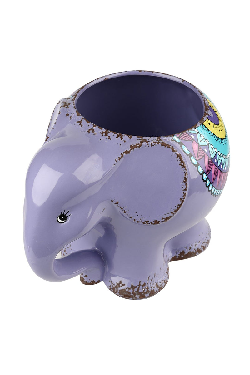 Purple Elephant Ceramic Pot