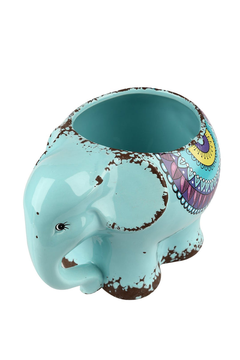 Teal Elephant Ceramic Pot