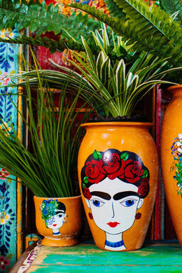 Medium Frida Kahlo Red Rose Ceramic Vase
