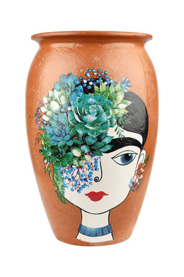 Large Frida Kahlo Blue Flower Ceramic Vase