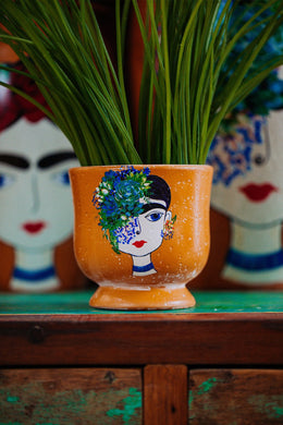 Small Frida Kahlo Blue Flower Ceramic Vase