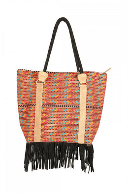 Bag Leather Fringing Hand Woven Fabric Assorted