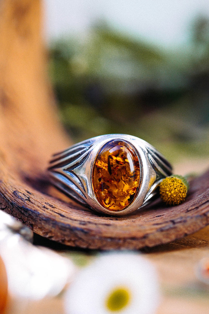 Baltic Amber Etched Ring