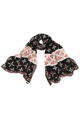 Assorted Embroidered Panels Scarf