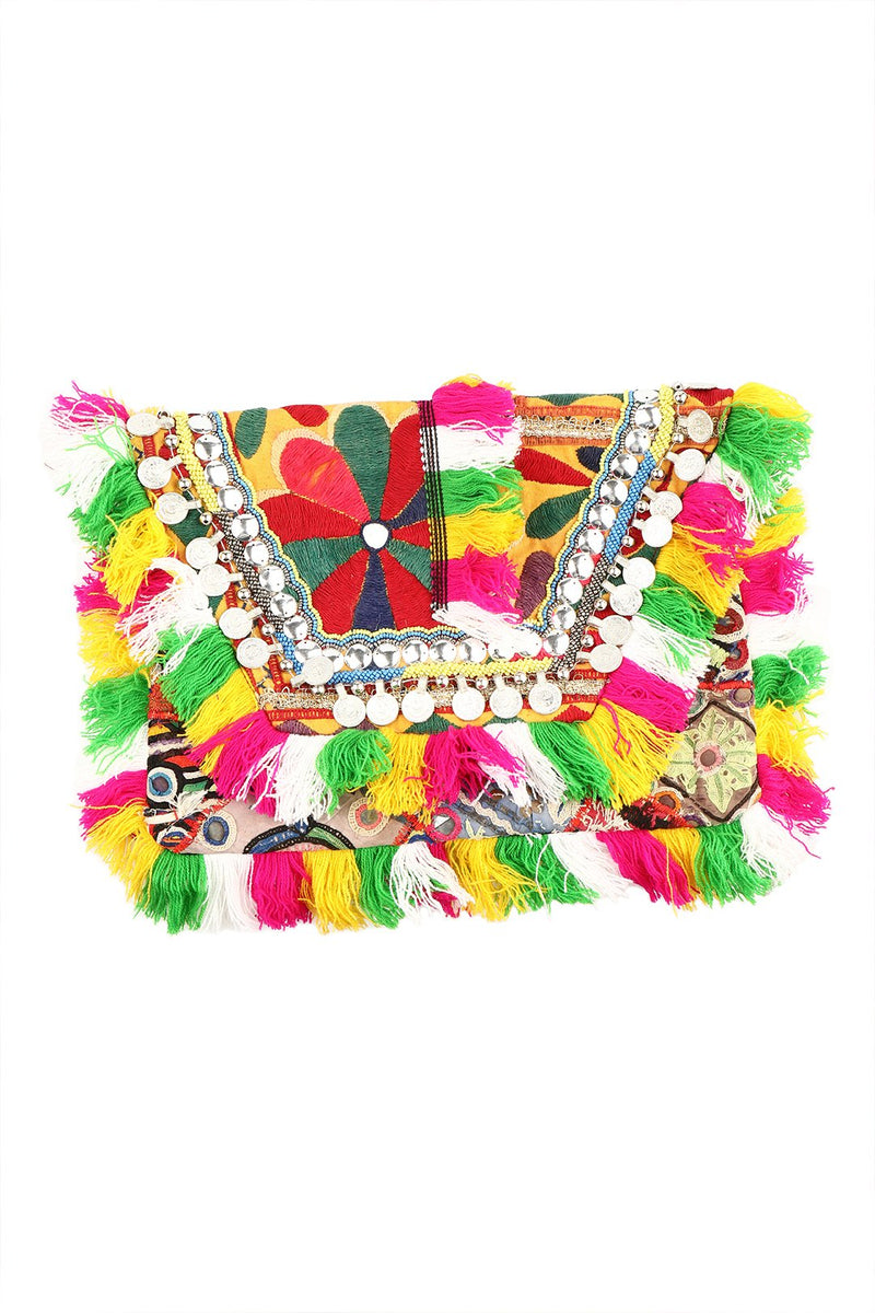Assorted Vintage Fabric Clutch Fringe Bag