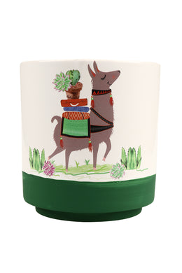 Llama Ceramic Pot with Dish