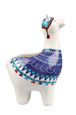 Large Blue Llama Ceramic Pot