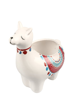 Medium Red Llama Ceramic Pot