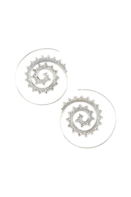 Spiral Thread Open Point Silver Earrings