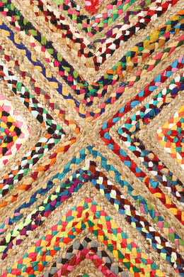 Round Multi Diamond Braid Rag Rug - 90cm
