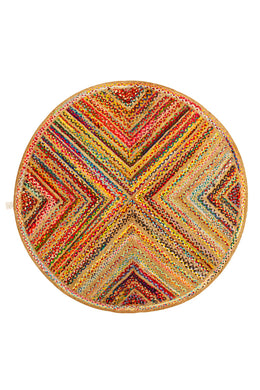 Round Multi Diamond Braid Rag Rug - 200cm