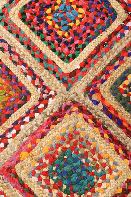 Rectangle Multi Diamond Patch Rag Rug - 90cm