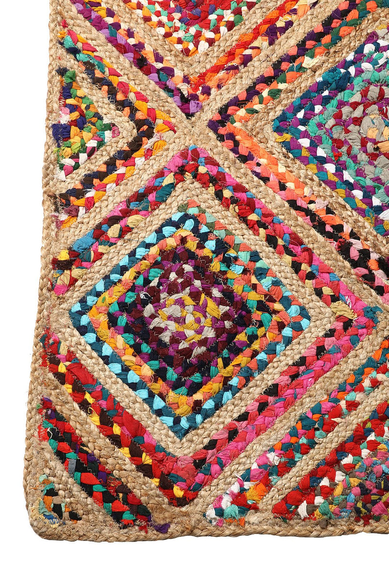 Rectangle Multi Diamond Patch Rag Rug - 150cm