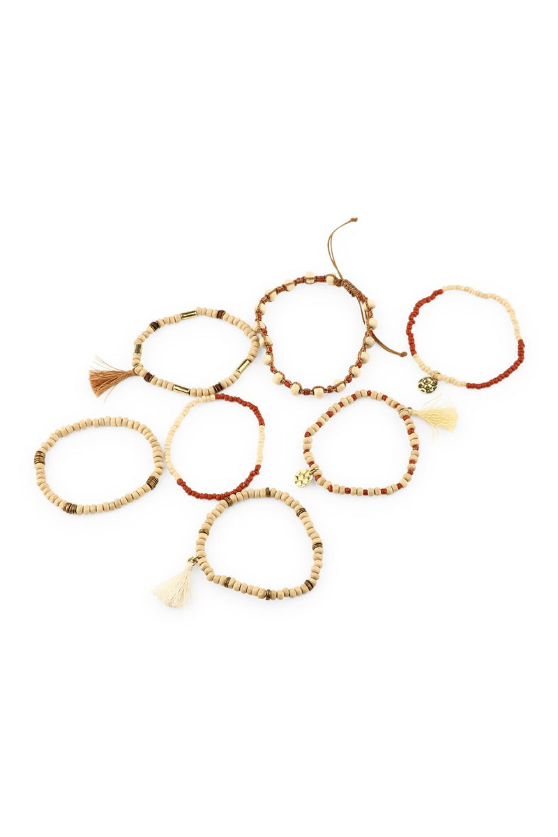 Set of Natural Beaded Bracelets