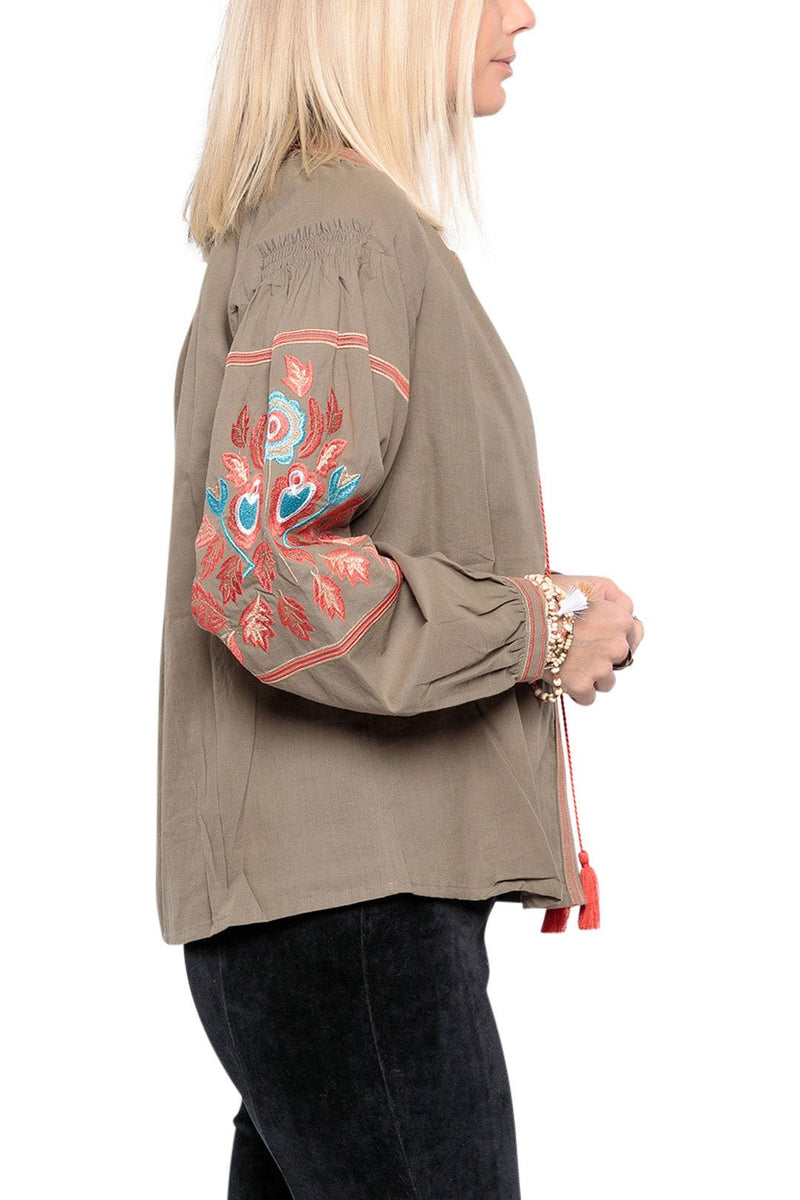 Olive Aztec Embroidery Peasant Top