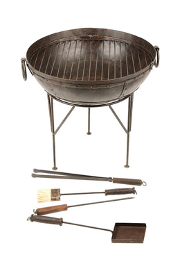 Wrought Iron Fire Pit & Tools Set