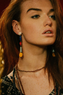 Blue Red Yellow Cermic Beads Earrings