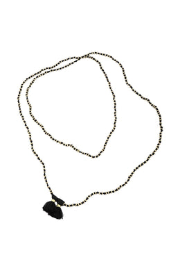Black Knotted Spacers Tassel Necklace