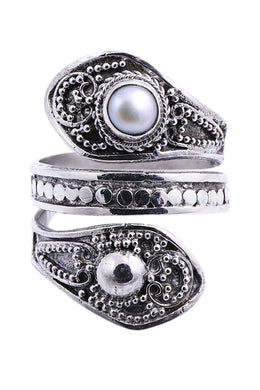 Balinese Freshwater Pearl Wrapped Silver Ring