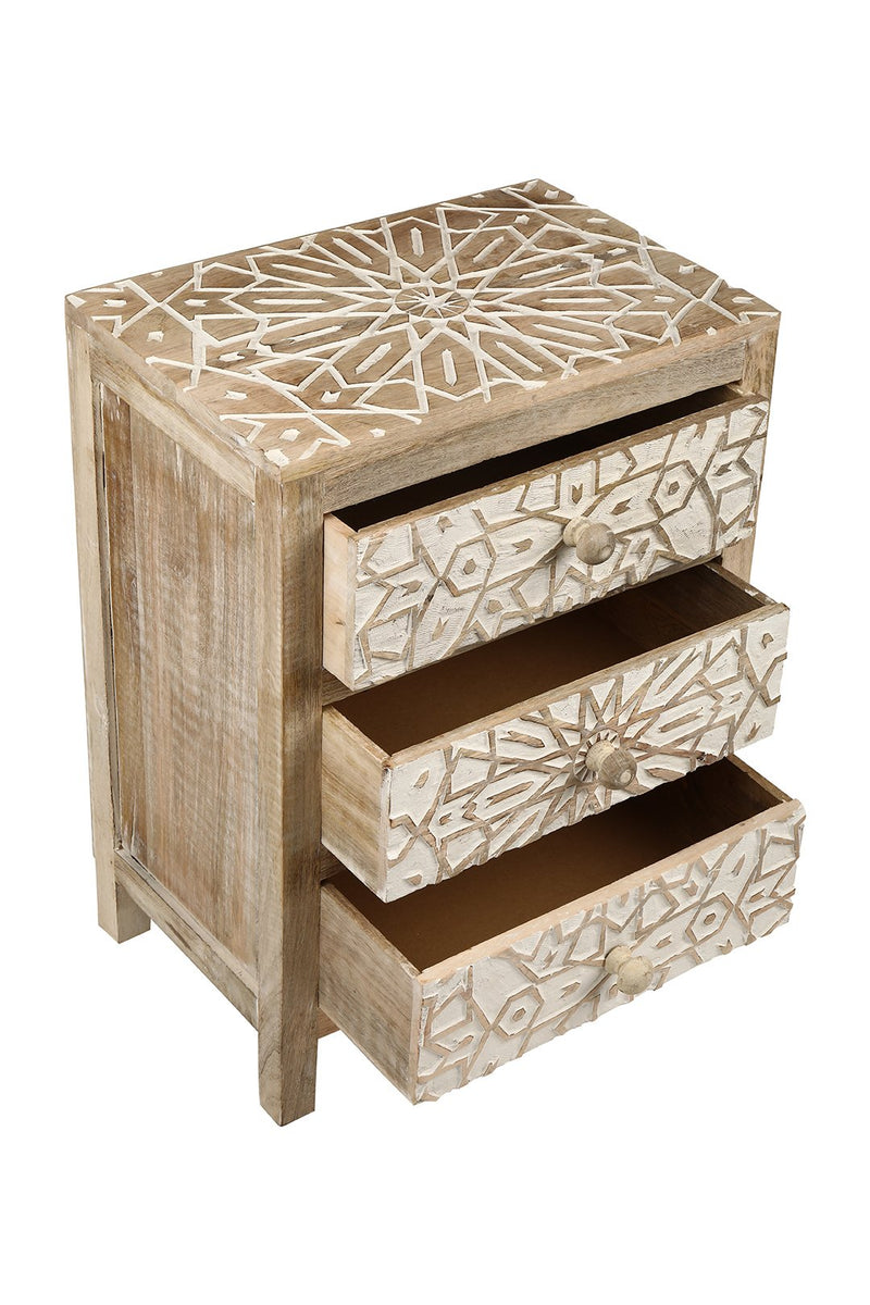 Persia White Wash 3 Drawer Bedside