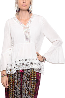 Top, V Neck Bell Sleeve with Lace