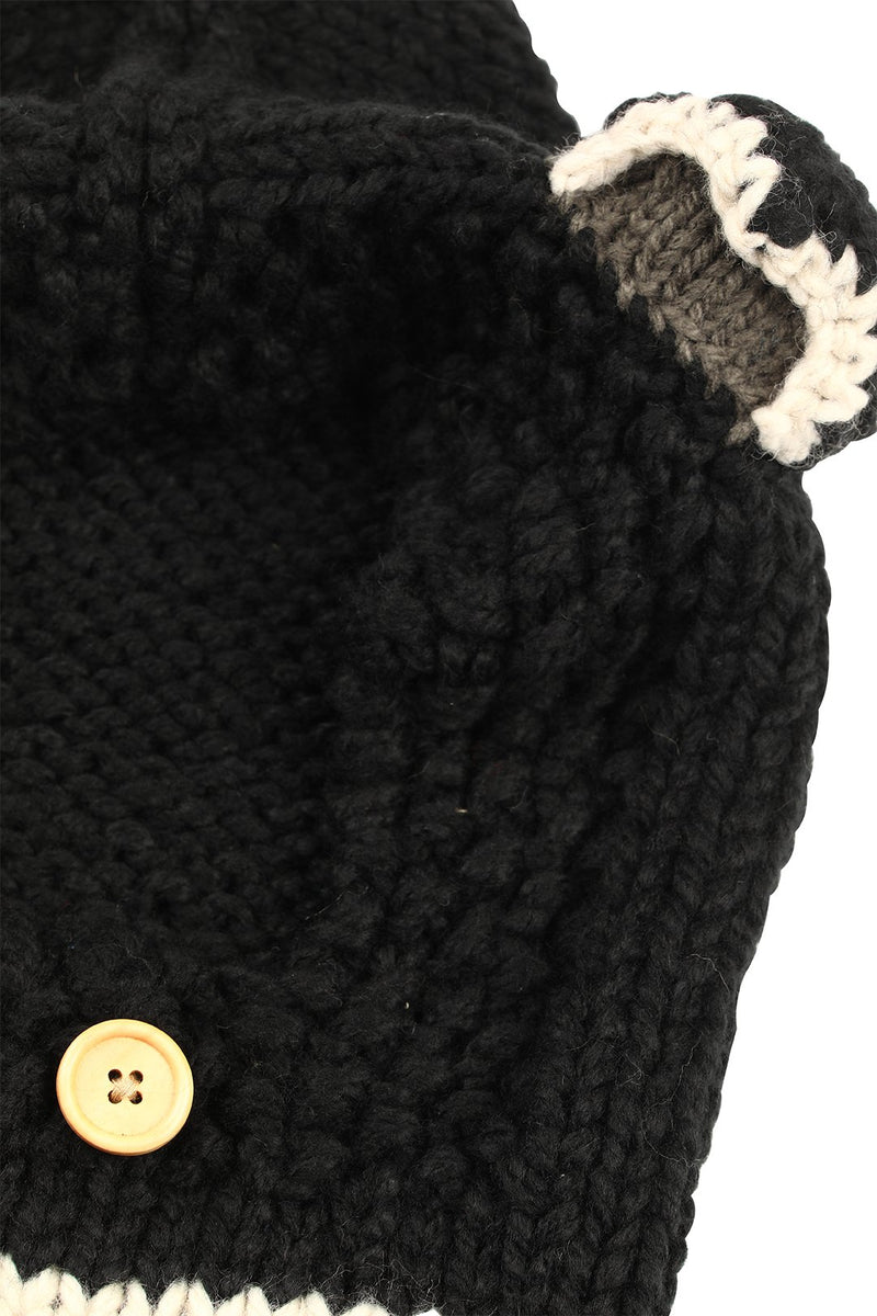 Beanie Full Face Animal Ears Black