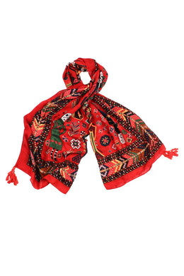 Red Mayan Villagers Scarf
