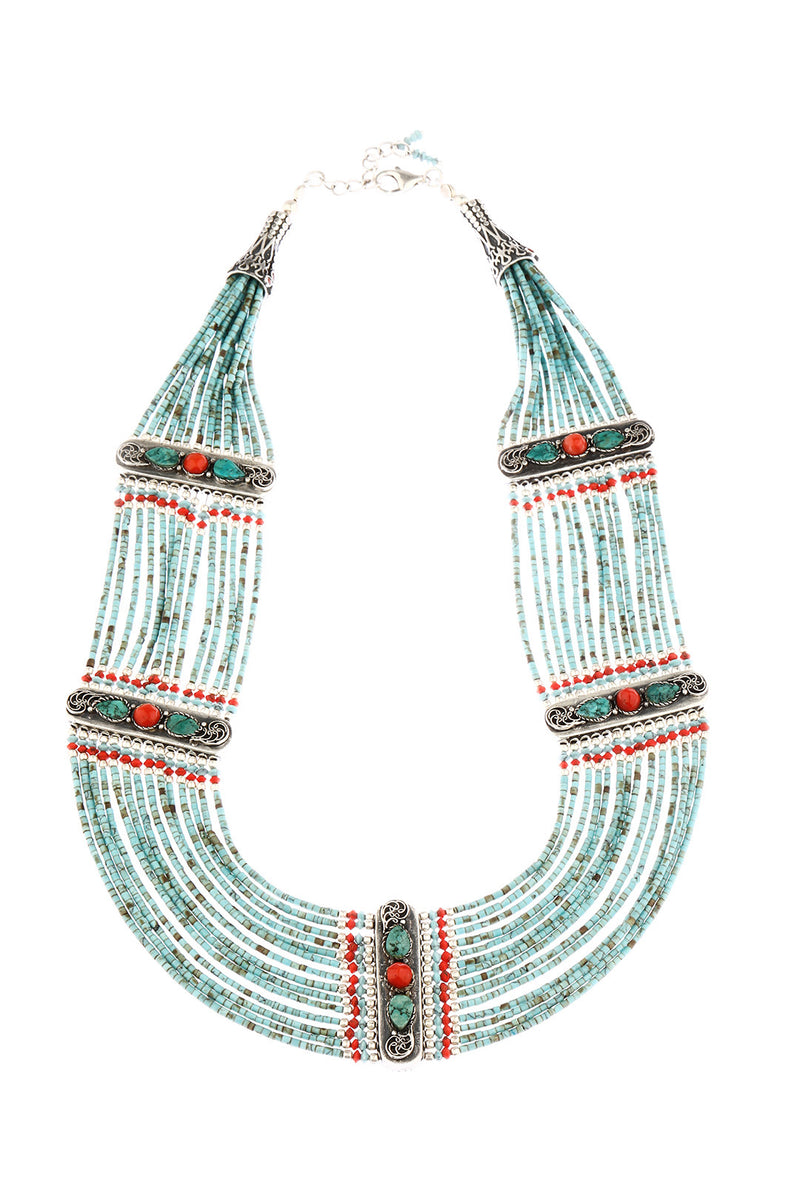 Nepalese Beaded Turquoise & Coral Statement Necklace