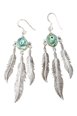 Abalone Shell Three Feather Silver Earrings
