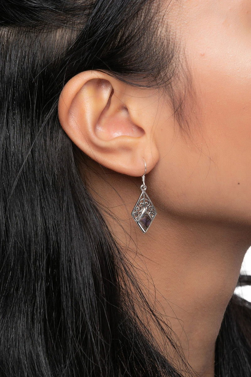 Diamond Filigree Silver Earrings