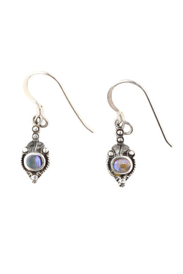 Oval Tribal Dainty Droplets Silver Earrings