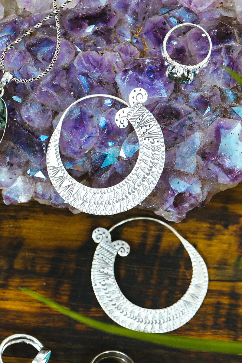 Hill Tribe Traditional Hoops Silver Earrings