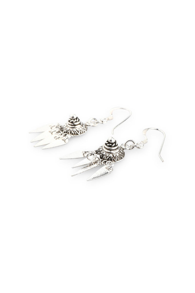 Oval Spikes Droplet Silver Earrings