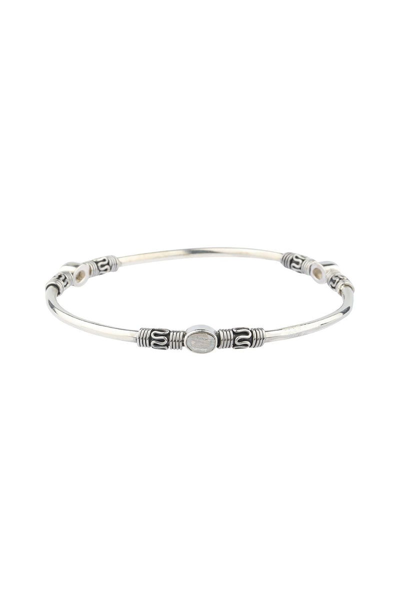 Station Gemstone Bangle Silver Bracelet
