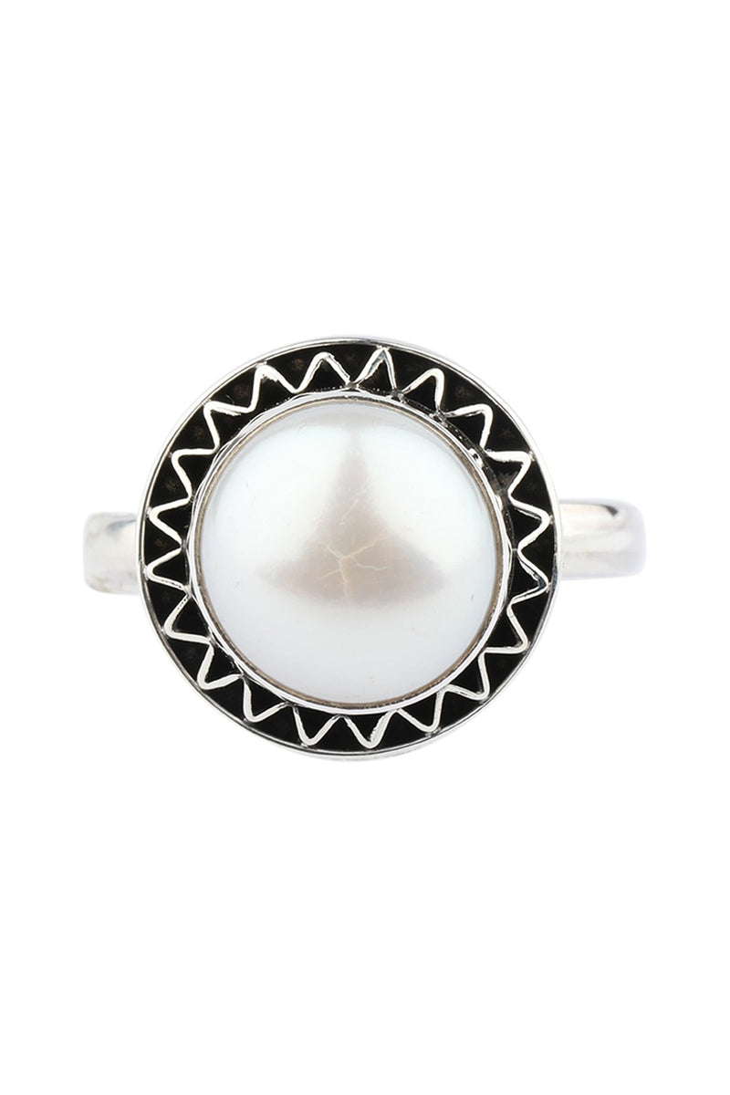 Freshwater Pearl Round Silver Ring