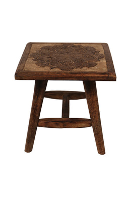 Carved Square Four Leg Stool