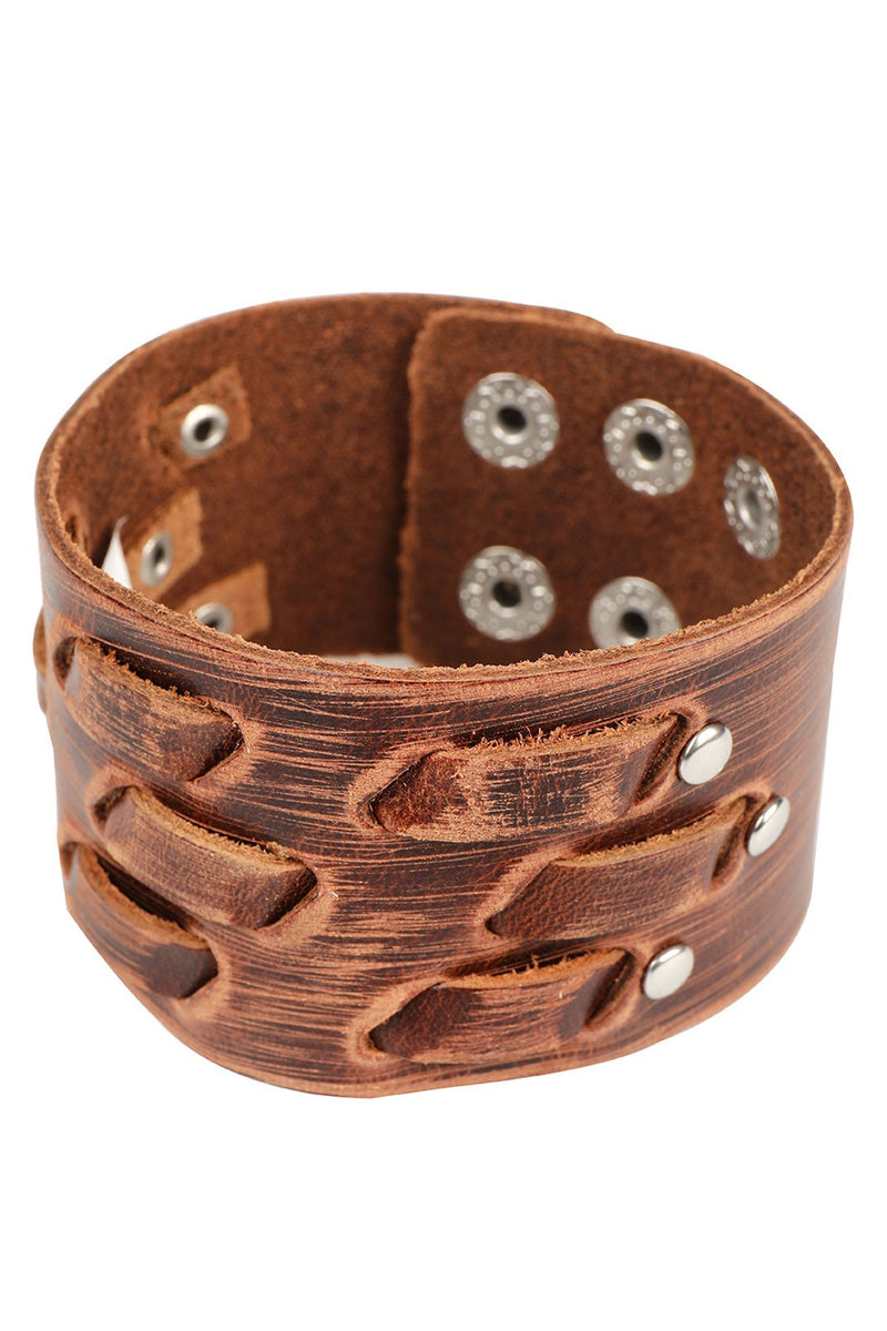 Weave Texture Tan Leather Bracelet