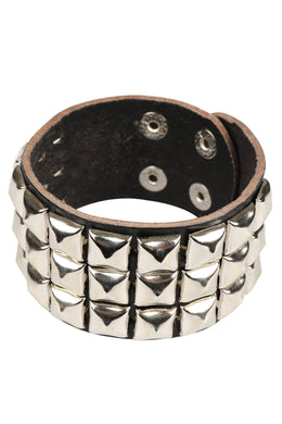 Studded Black Leather Cuff Bracelet