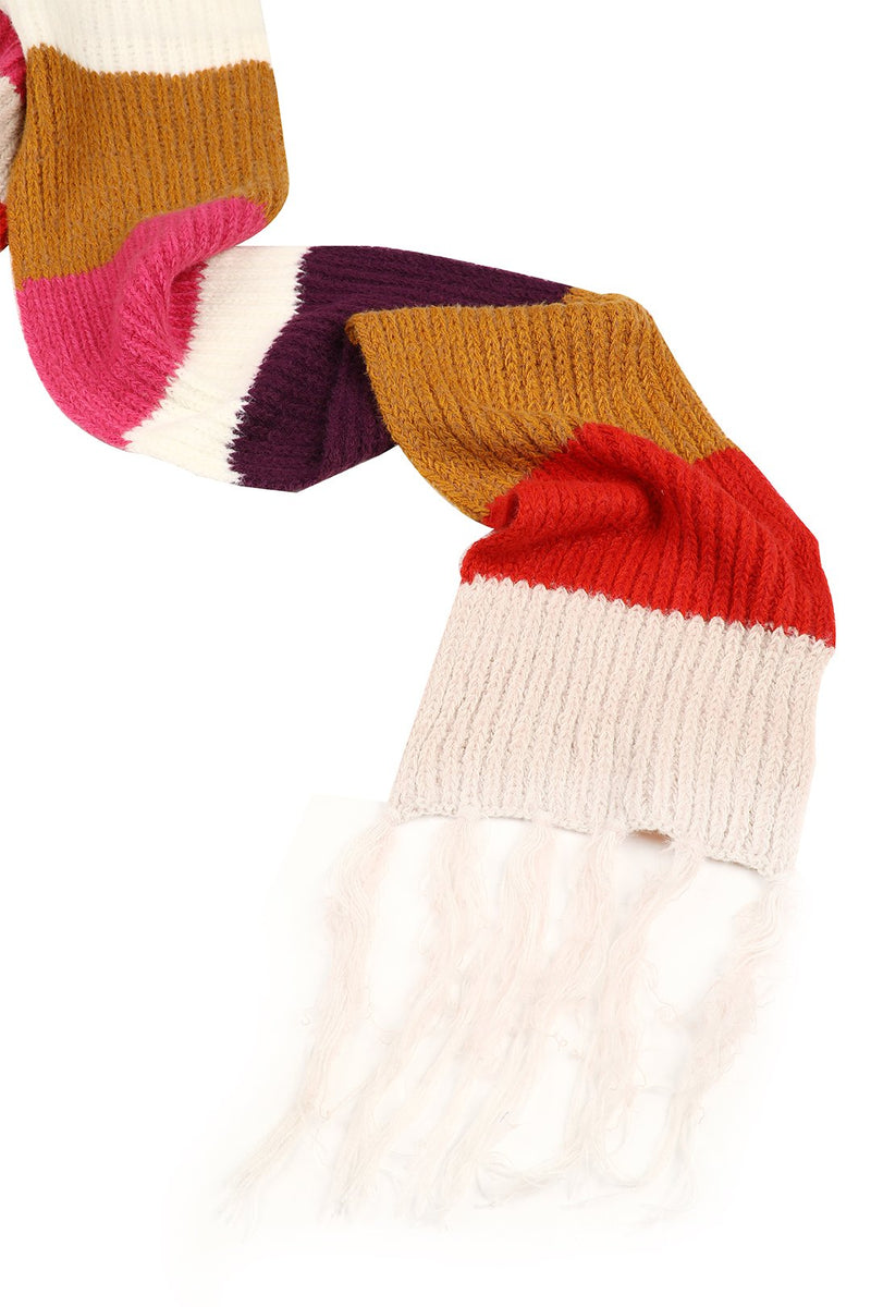 Block Stripe Knit Scarf