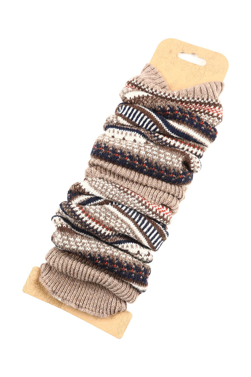 Multi Stripe Knit Leg Warmers