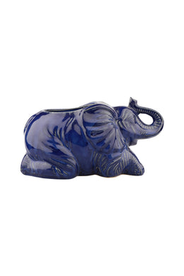 Blue Ceramic Elephant Plant Pot