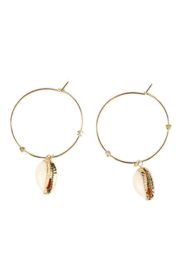 Gold Plated Silver Hoop Shell Earrings