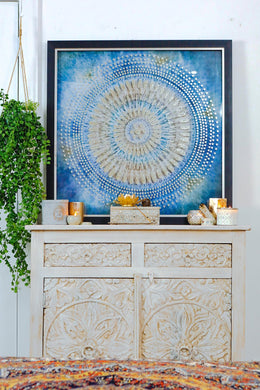 Gold Mandala with Sequins Print Canvas