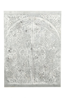 White Temple Door Painting On Wood