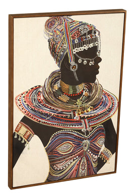 African Woman Sequins Print Canvas