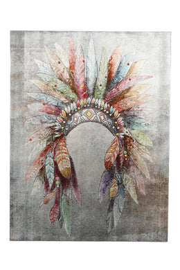 Feather Headdress Sequins Print Canvas