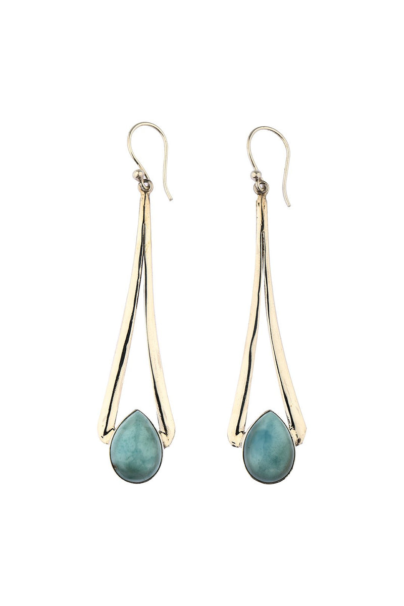 Elongated Larimar Drop Earrings