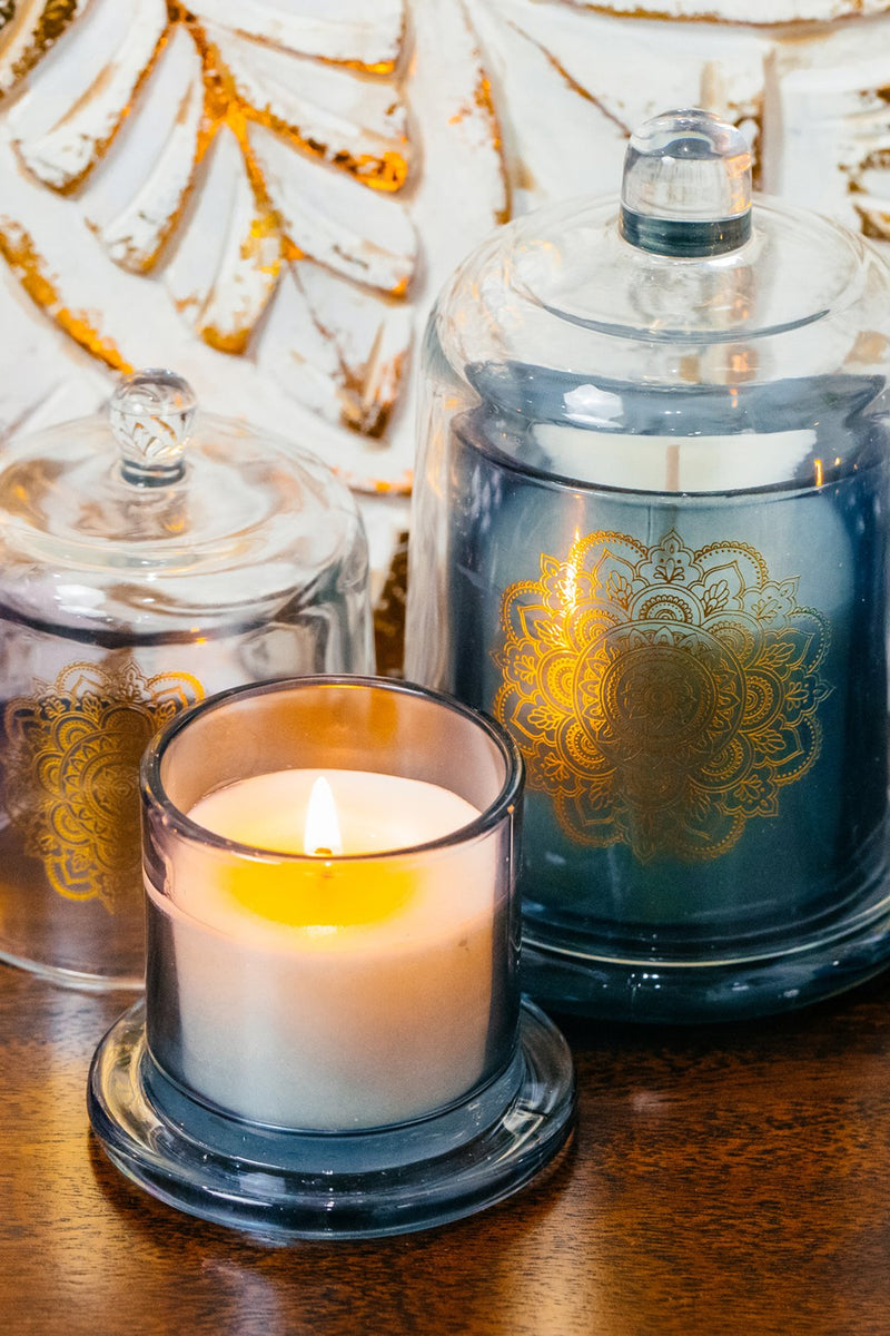 Small Mandala Glass Dome Candle